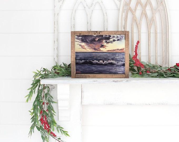 Original seascape oil painting Nicolae Art Lavender Ocean Nicole Smith Artist 8x10