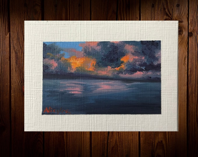 "Original Oil painting ACEO mini artwork Nicolae Art Nicole Smith Artist Sunset ocean seascape 2.5""x3.5"""
