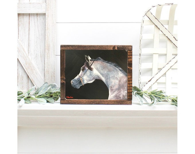 Original dapple Arabian horse painting oil on canvas 8x10 by Nicole Smith