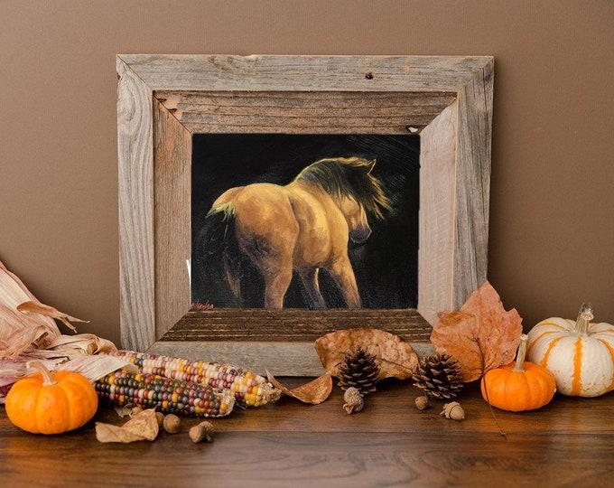 Original Buckskin horse painting oil on canvas 8x10 by Nicole Smith