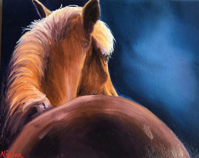 Original horse oil painting Nicolae Equine Art Chestnut horse Nicole Smith Artist 8x10