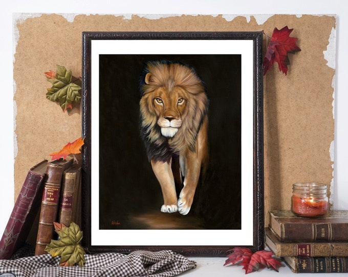 "Lion art print African safari big cat Giclee reproduction high quality print artist Nicole Smith ""Haidar"" 8x10"