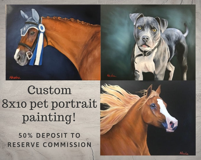 Custom Horse oil painting 8x10 50% initial deposit to reserve commission equine artwork