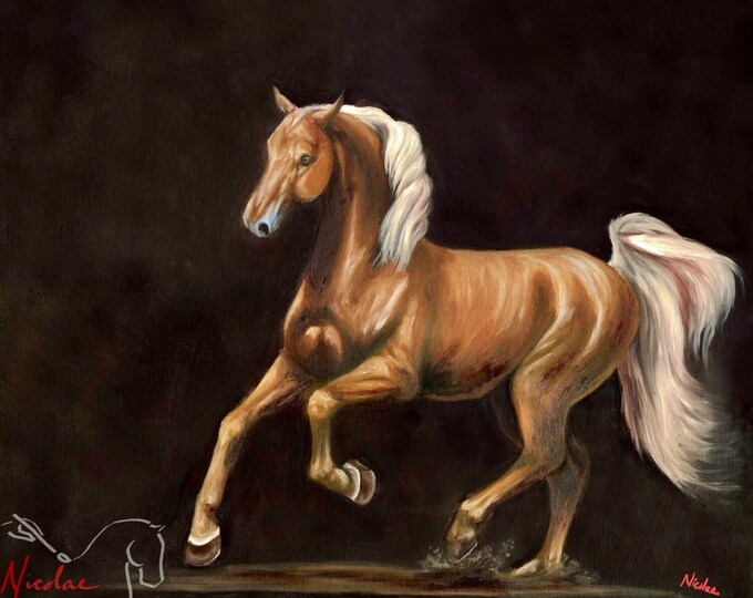 """American Saddlebred Giclee art print of original oil painting """"Spirit of a Saddlebred""""  by Nicole Smith size 8x10"""