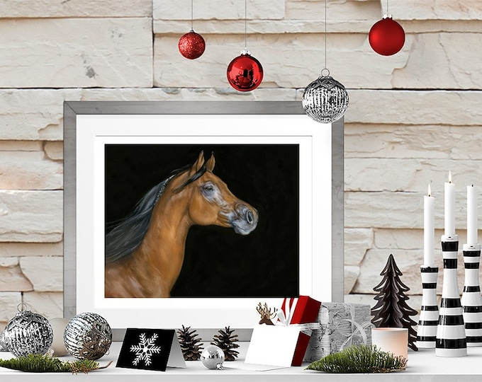 """Nicole Smith Artist Horse Art Original Equine Giclee reproduction high quality print """"Son of Fire"""" 11x14"""
