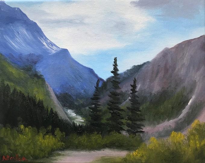 Original Mountain landscape oil painting Nicolae Art valley trees Nicole Smith Artist 8x10