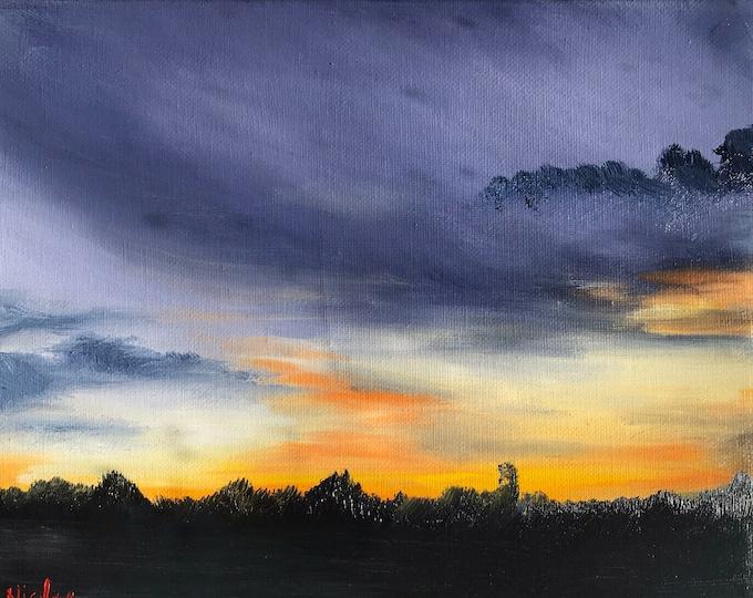 Original Sunrise oil painting Nicolae Art housewarming farm gift Nicole Smith Artist 8x10
