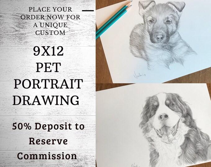Pet portrait drawing 9x12 50% inital deposit to reserve commission