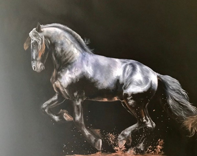 "Nicole Smith Original Artist Horse Oil Painting on canvas Art Equine Friesian ""Shadow Dancer"" 24x24"