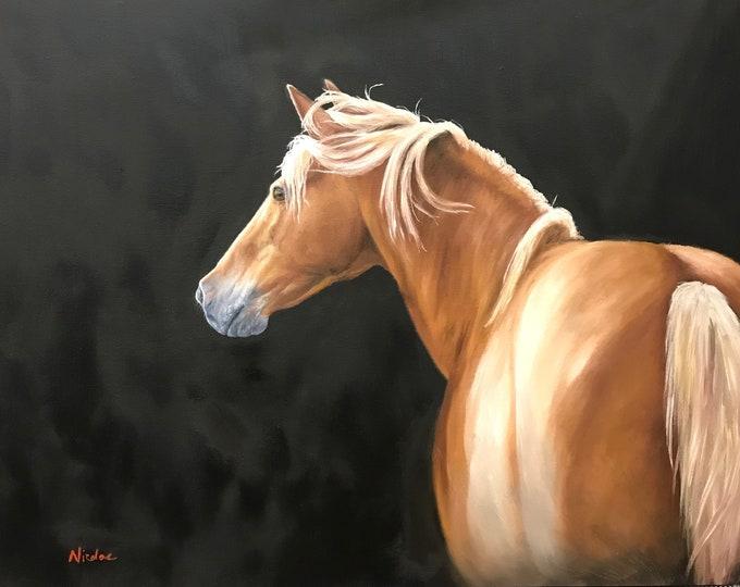 "Original equine art horse oil painting Halflinger ""Palomino Lights"" 22x28"