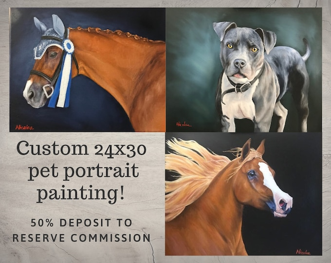 Custom Horse oil painting 24x30 50% initial deposit to reserve commission equine pet artwork
