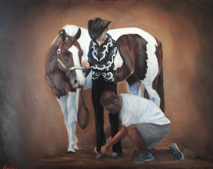 Original equine art horse oil painting Western Showmanship 18x24