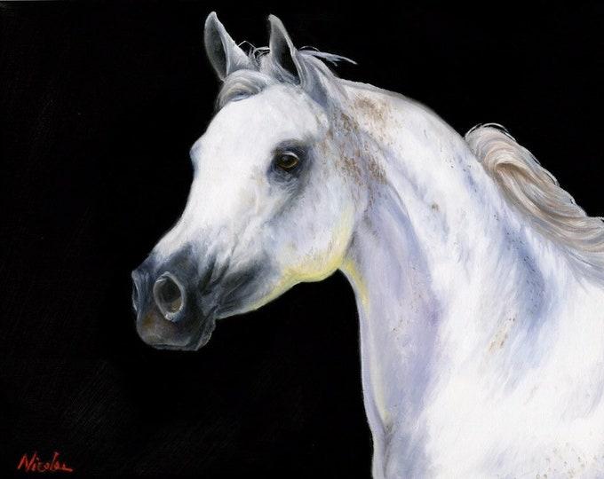 original Horse oil painting Nicolae Art Nicole Smith Artist Equine Art Arabian Horse on black background