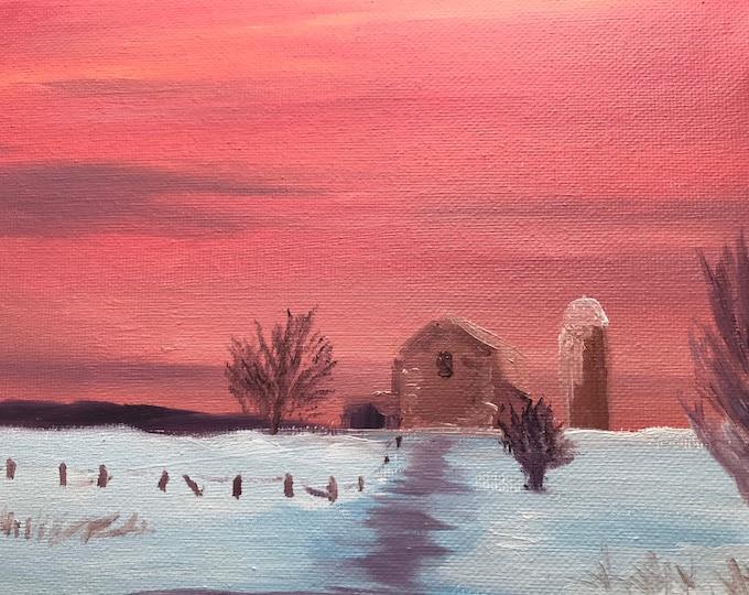 Original Farmhouse landscape oil painting Nicolae Art winter sunrise snow Nicole Smith Artist 8x10