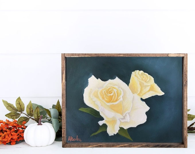 Original Flower oil painting yellow roses of Friendship by Nicole Smith 8x10