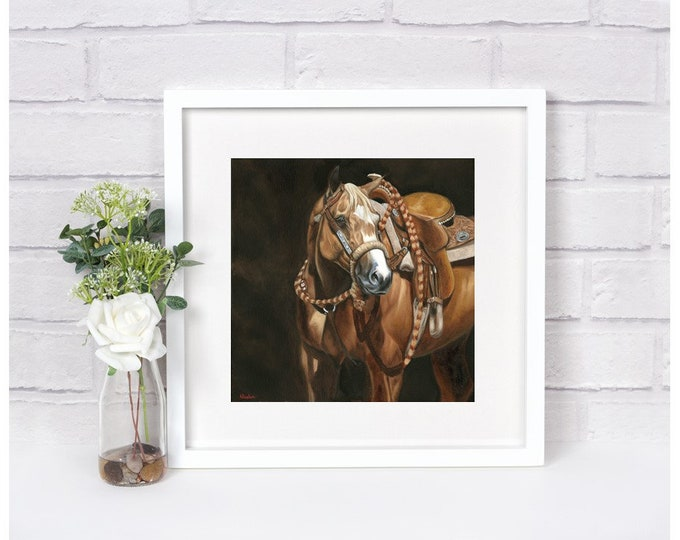 "Nicole Smith Artist Horse Art Original Equine Giclee reproduction high quality print ""Western Dunalino"" 14x14"