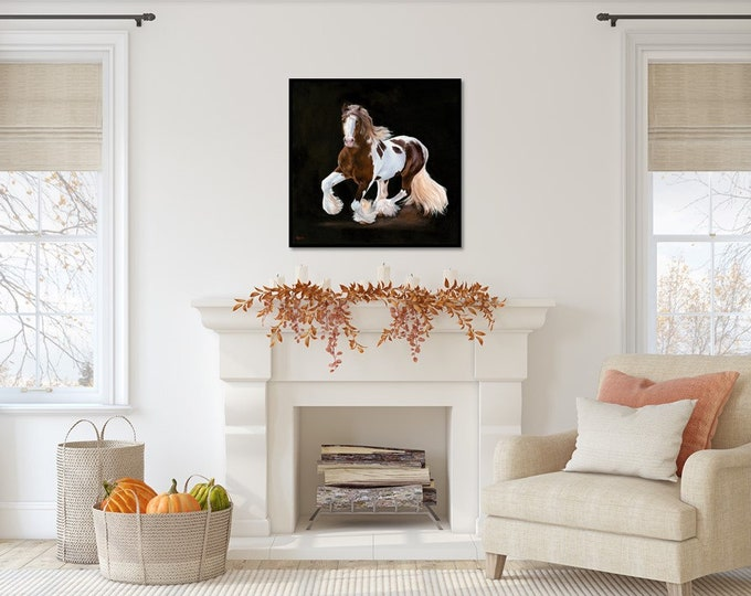 Original Gypsy Vanner Horse oil painting by Nicolae Art 24x24 equestrian wall art Horse gifts