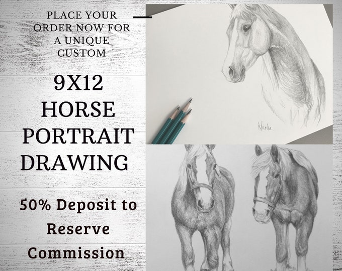 Custom horse drawing 9x12 50% initial deposit to reserve pencil art commission