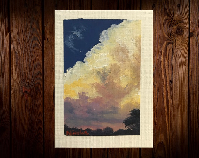 "Original Oil painting ACEO mini artwork Nicolae Art Nicole Smith Artist Sunset landscape 2.5""x3.5"""