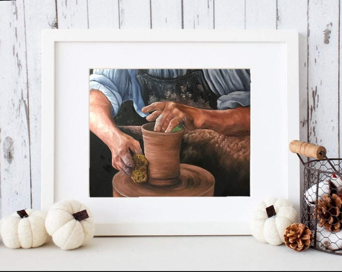 Christian Fine art print Potter's Hands Inspirational religious artwork Nicolae Art Nicole Smith Artist 11x14