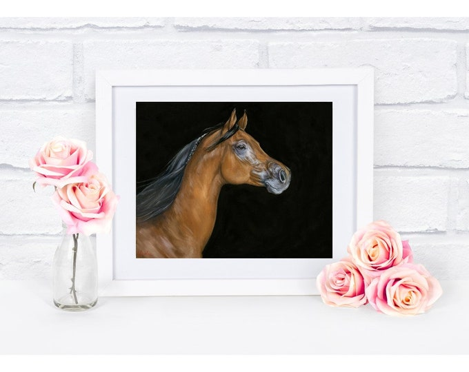 "Nicolae Equine Art Nicole Smith horse artist Fine art high quality Giclee reproduction of original artwork ""Son of Fire"" 8x10"
