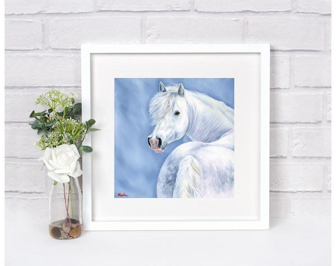 """Nicolae Equine Art Nicole Smith horse artist Fine art high quality Giclee reproduction of original artwork """"Snow Princess"""" 14x14"""