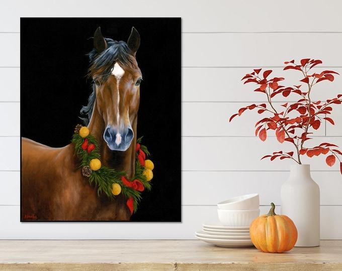 original Christmas Horse oil painting by Nicolae Art 22x28 Equine wall art