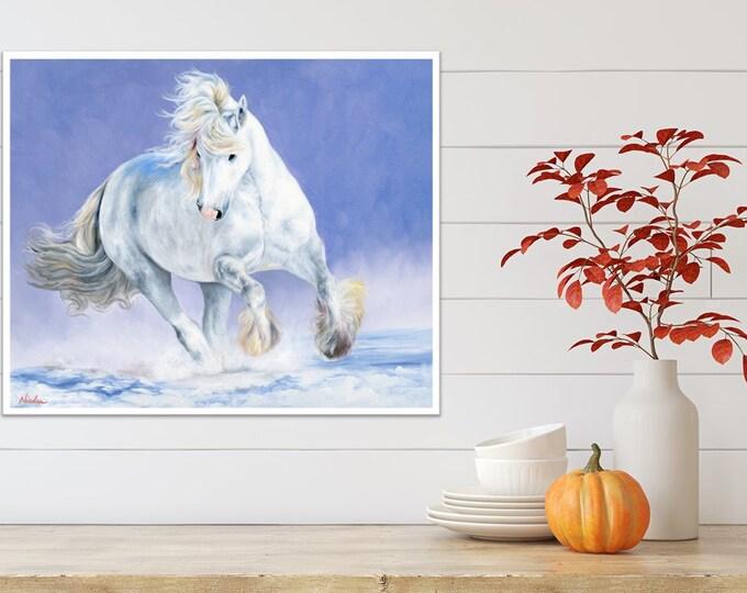 Original Gypsy Vanner Horse oil painting by Nicolae Art 20x24 wall art