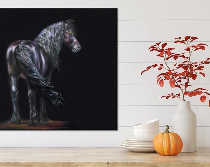 "Nicole Smith Original Artist Horse Oil Painting on canvas Art Equine Friesian ""Darkest of Shadows"" 24x24"