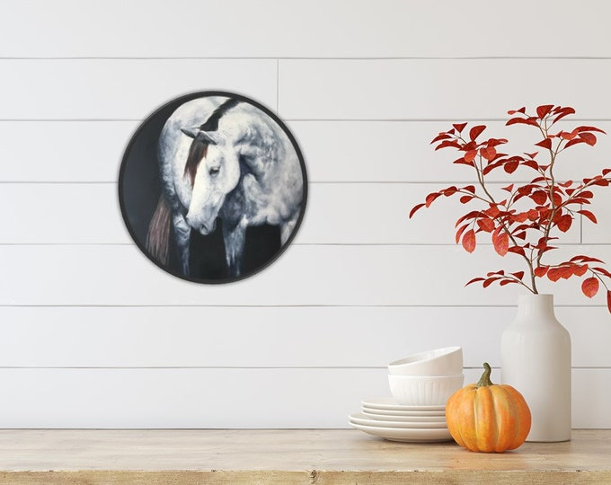 Original gray Andalusian Horse oil painting by Nicolae Art 16 inch circle canvas wall art