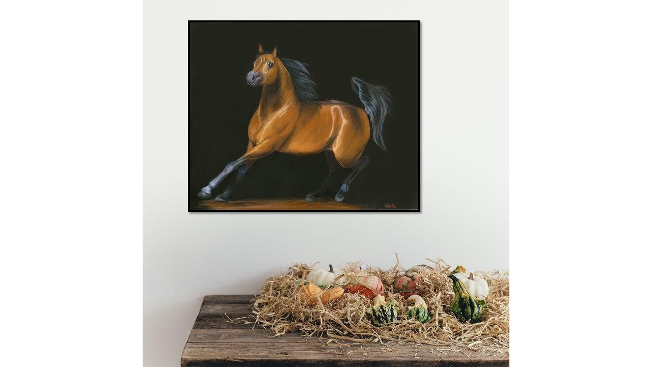 Original Equine Art Horse Oil Painting Arabian Horse Chasing The Desert Wind 24x30
