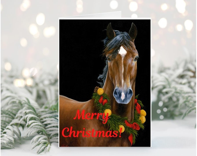Printable Horse Christmas greeting Card Horse themed holiday card digital download Horse gift ideas