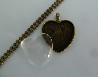 10 x DIY Antique Bronze heart pendant kit