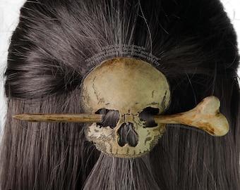 Mordrake Handmade Leather & Wood Skull Hair Pin- Stick Slide with Faux Bone
