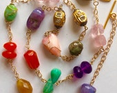 14K Solid Gold, Rose Cut Diamond Bead and Multi Gemstone Nugget Necklace, Green Tourmaline, Amethyst, Peruvian Opal, Carnelian, Rose Quartz