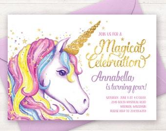 Unicorn Birthday Invitation Printable For A Unicorn Birthday