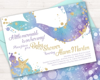 Mermaid Baby Shower Invitation, Mermaid Sprinkle Invitation, Mermaid Shower Invitation, Baby Shower Invite, Little Mermaid, Under Sea Party