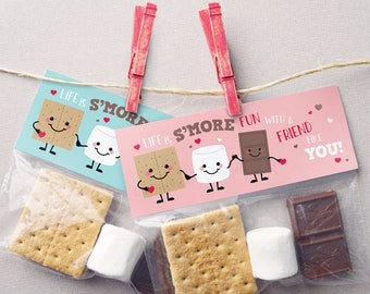 Valentine Treat Bag Toppers PRINTABLE Smores Valentine Cards for Kids Valentines Smores Printable Valentines Kids Treat Tags, Instant DIY