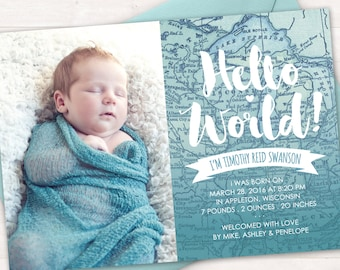 Birth Announcement, Baby Birth Announcement Card, Baby Boy, Baby Girl, Hello World, Map, Photo Card, New Baby, Newborn, Printable, Digital
