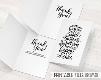 Business thank you card small business cards printable thank etsy small business thank you cards printable package inserts happy dance printable thank you cards girl boss card shop small marketing cards accmission Image collections