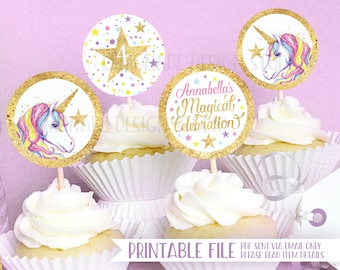 Unicorn Party PRINTABLE CUPCAKE TOPPERS Decorations Birthday Cupcakes Cupcake Topper Printables Decor