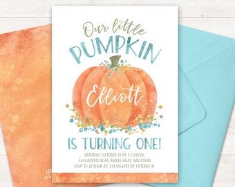 little pumpkin birthday invitation little pumpkin turning one etsy