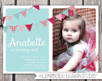 Boy first birthday invitation bunting flags banner photo etsy first birthday invitation bunting flags banner photo printable invite baby blue and red 1 year old or 2 year old second birthday filmwisefo