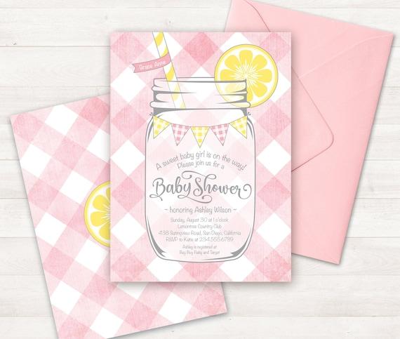 Pink Lemonade Baby Shower Lemon Baby Shower Invite Printable Etsy