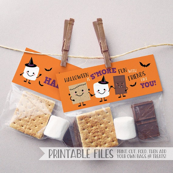 PRINTABLE Halloween Tags Halloween Favor Tags Smores Tags