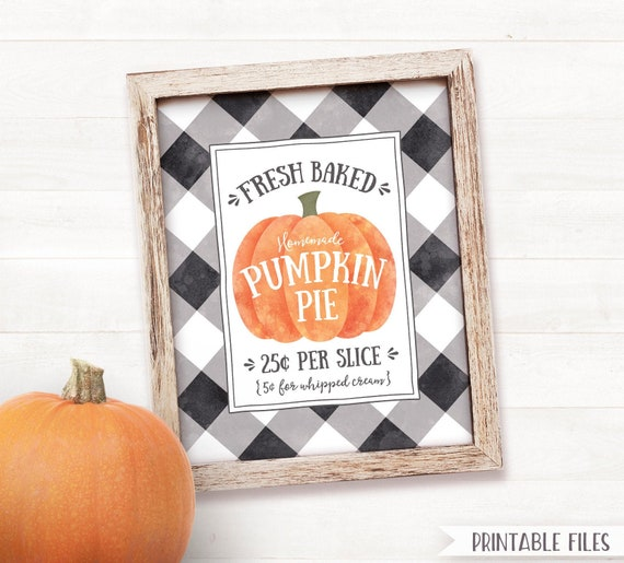 picture relating to Printable Pumpkin known as PRINTABLE Pumpkin Pie Indicator, Pumpkin Spice Year Signal