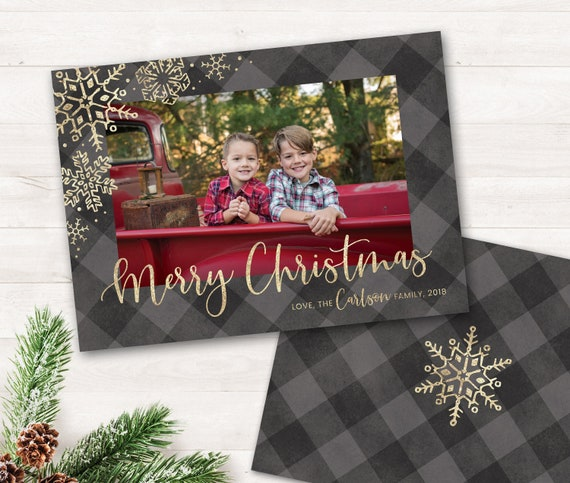 Holiday Cards Photo Buffalo Plaid Christmas Card With Photo Christmas Cards Grey Gold Printable Christmas Printable Holiday Greeting Cards By Lemonade Design Studio Catch My Party