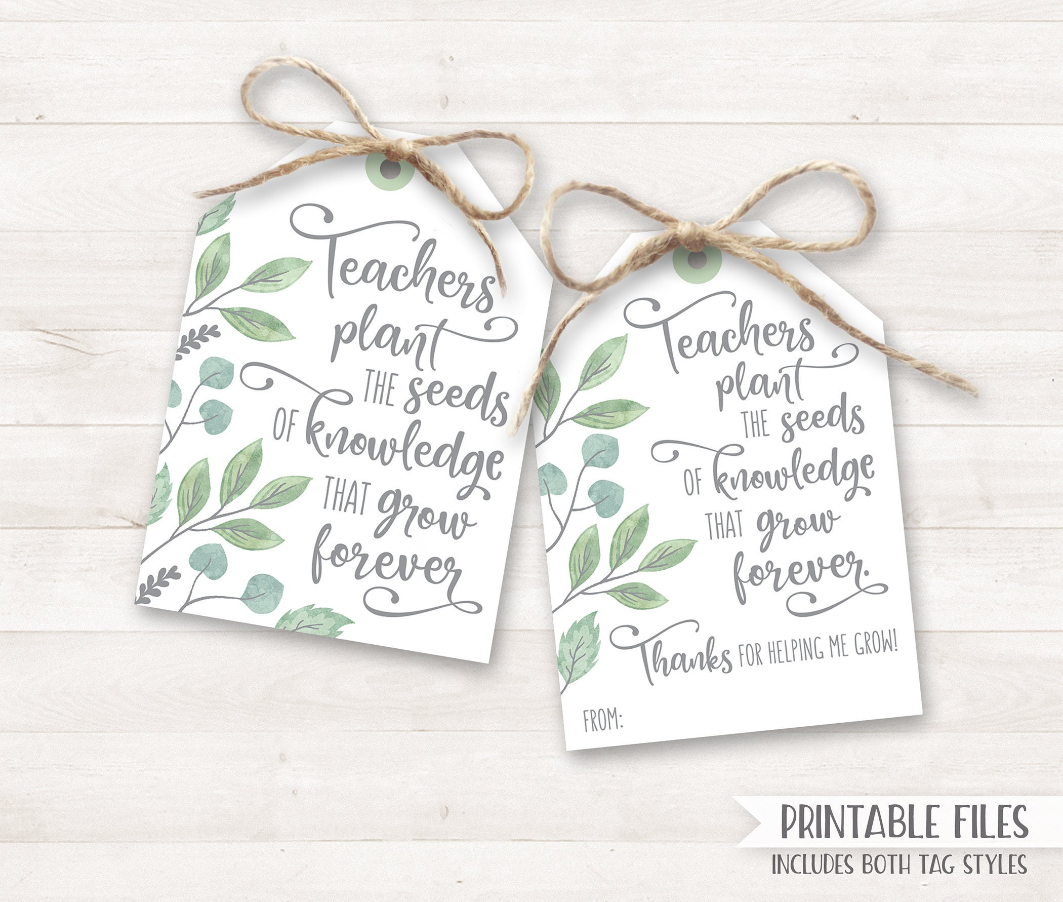 image regarding Printable Teacher Appreciation Cards referred to as Again in direction of College PRINTABLE Instructor Appreciation Present Tags, Instructor Thank On your own Card Appreciation Card Academics plant the seeds increase Instructor Reward