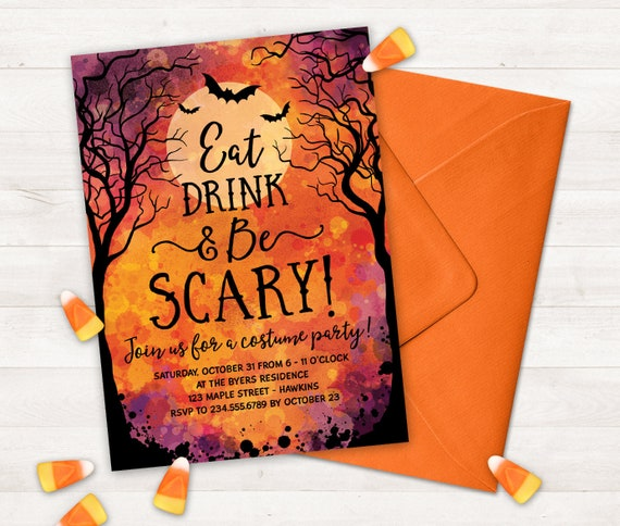 graphic regarding Halloween Invites Printable titled Halloween Social gathering Invites Printable Halloween Invitation