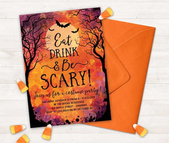 photograph regarding Halloween Invites Printable titled Halloween Social gathering Invites Printable Halloween Invitation